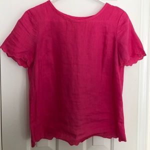 J. Crew Pink Scallop Top